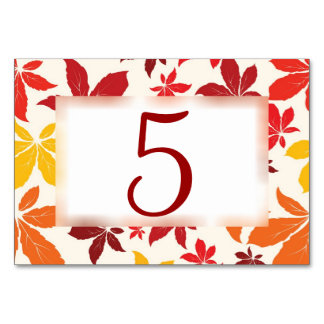 Bright Fall Leaves Wedding Table Numbers Table Card