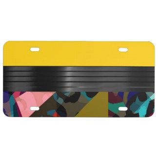 Bright Fancy Yellow Rainbow Cheetah License Plate
