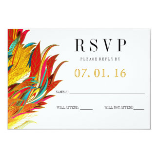 Bright Feathery RSVP Card