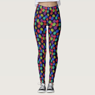 Bright ferns on navy blue design leggings