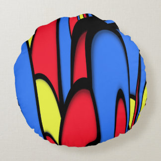 Bright  Festive Colors Round Pillow