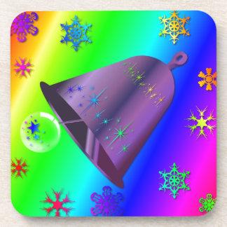 Bright, festive rainbow Bell Christmas Design Coasters