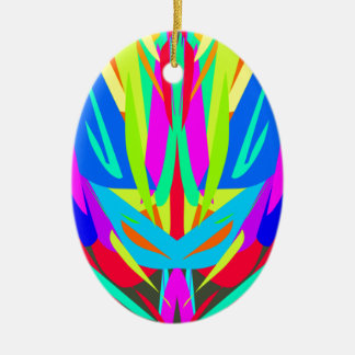 Bright Festive Symmetrical Abstract Pattern Ceramic Oval Ornament