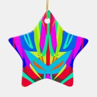 Bright Festive Symmetrical Abstract Pattern Ceramic Star Ornament