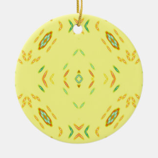 Bright Festive Yellow Pattern Round Ceramic Ornament