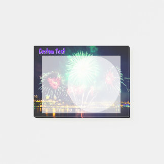 Bright Fireworks | Night Cityscape Post-it Notes