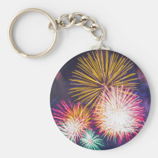 Bright Fireworks Photo Keychain