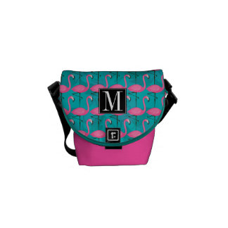 Bright Flamingo Pattern | Add Your Initial Commuter Bags