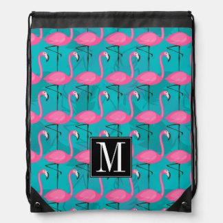 Bright Flamingo Pattern | Add Your Initial Drawstring Bag