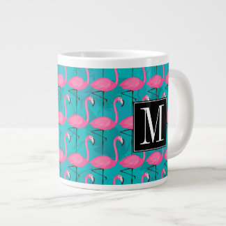 Bright Flamingo Pattern | Add Your Initial Giant Coffee Mug