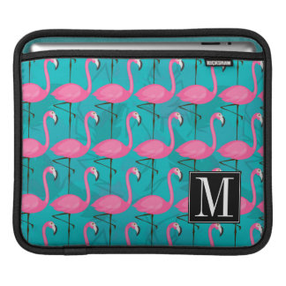 Bright Flamingo Pattern | Add Your Initial Sleeve For iPads