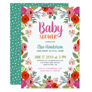 Bright Floral Baby Shower Invitation