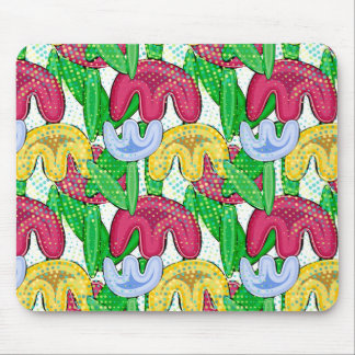 Bright floral doodle spring mood, retro flowers. mouse pad
