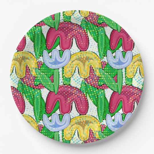 Bright floral doodle spring mood, themed party paper plate