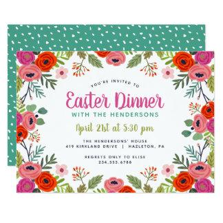 Bright Floral Easter Dinner Invitation