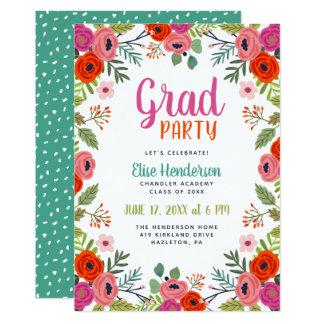 Bright Floral Graduation Party Invitation