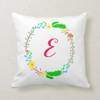 Bright Floral Monogram Pillow