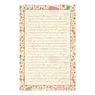 Bright floral pattern stationery
