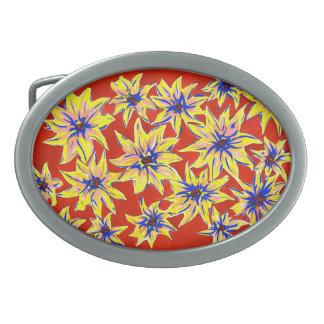 Bright Floral Pop Art Watercolour Belt Buckle