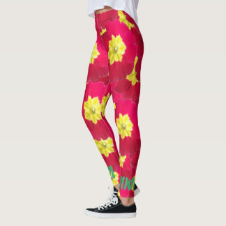 Bright Floral Red and Yellow Primrose Leggings