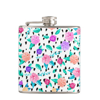 Bright floral watercolor brushstrokes pattern flask