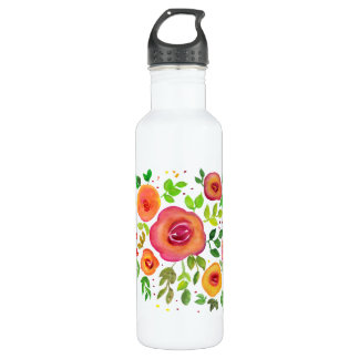 Bright Flower Floral Bouquet, Watercolor Painting 710 Ml Water Bottle