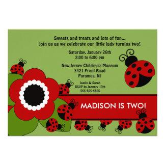 Bright flower Ladybug Birthday Invitation