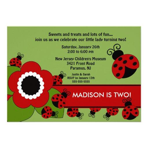 Bright flower & Ladybug Birthday Invitation