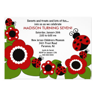 Bright flower Ladybugs Birthday Invitation