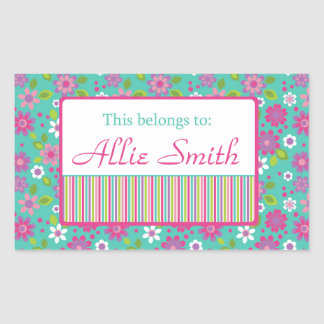 Bright Flowers Back to School Personalized Labels