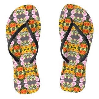 Bright Flowers Flip Flops