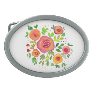 Bright Flowers Floral Bouquet, Watercolor Painting Belt Buckle