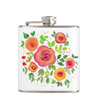 Bright Flowers Floral Bouquet, Watercolor Painting Hip Flask