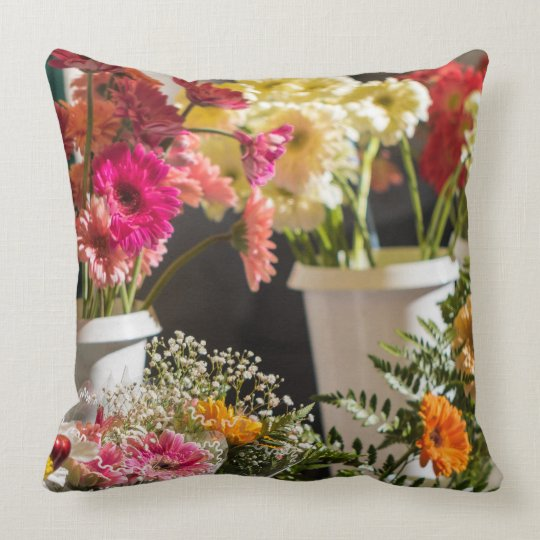 Bright flowers pillow, cushion