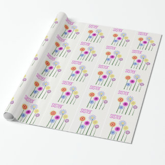Bright flowers, Sister, gift wrap .