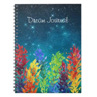 Bright Flowers Starry Night Dream Journal Spiral Note Books