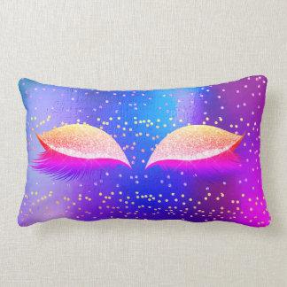 Bright Fluorescent Pink Gold Glitter Glam Makeup Lumbar Pillow