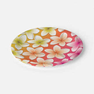 Bright Frangipani/ Plumeria flowers 7 Inch Paper Plate