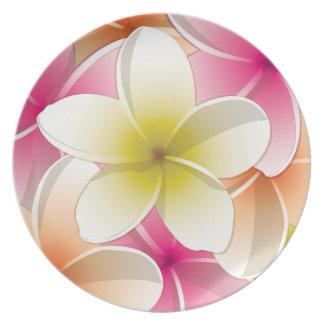 Bright Frangipani/ Plumeria flowers Dinner Plate