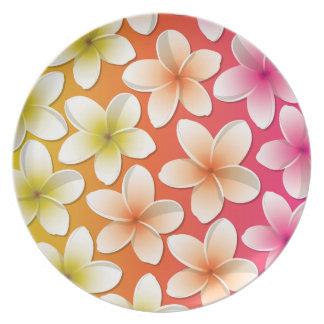 Bright Frangipani/ Plumeria flowers Dinner Plates