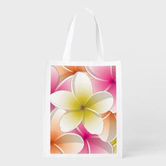 Bright Frangipani/ Plumeria flowers Grocery Bag