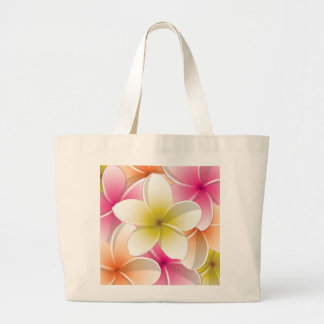 Bright Frangipani/ Plumeria flowers Large Tote Bag