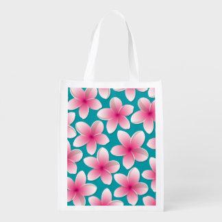 Bright Frangipani/ Plumeria flowers Market Totes