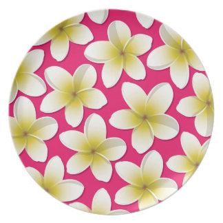 Bright Frangipani/ Plumeria flowers Party Plate