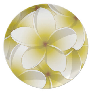 Bright Frangipani/ Plumeria flowers Party Plates