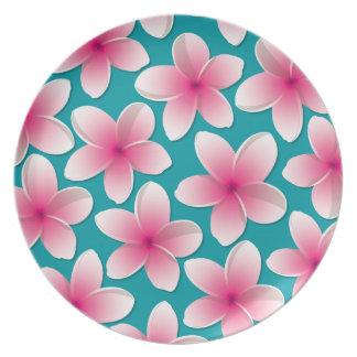 Bright Frangipani/ Plumeria flowers Plate