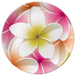 Bright Frangipani/ Plumeria flowers Porcelain Plate