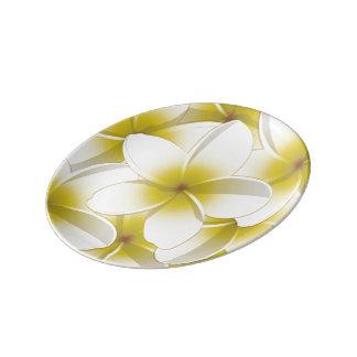 Bright Frangipani/ Plumeria flowers Porcelain Plates