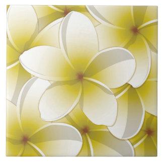 Bright Frangipani/ Plumeria flowers Tile