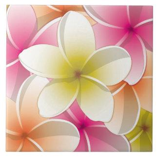 Bright Frangipani/ Plumeria flowers Tiles